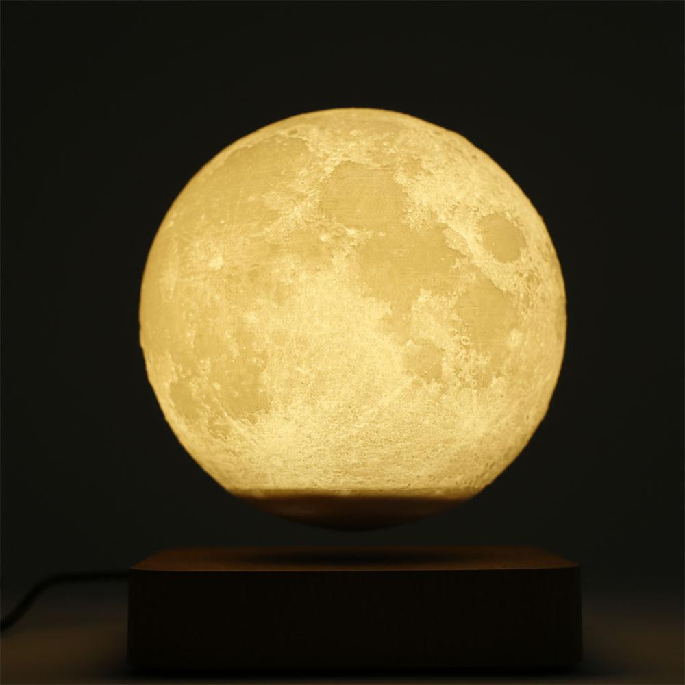 3D Magnetic Levitation Moon Lamp Night Light Rotating Led Moon Floating Lamp with Wooden Base Home Decoration Holiday Light enlarge