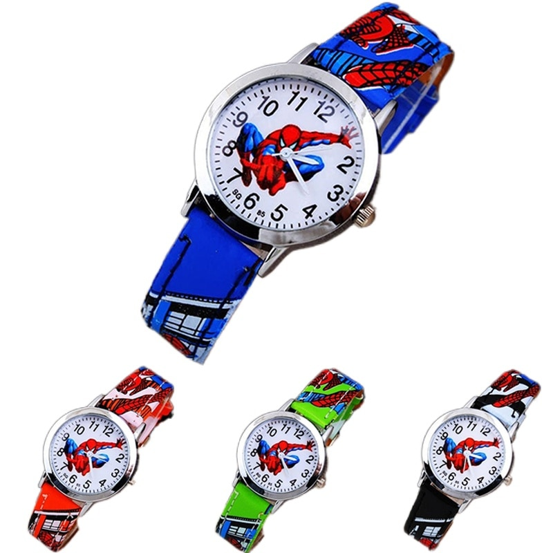 Children's Cartoon Watch Spiderman Leather Strap Quartz Watch Best Child Wristwatch Gift