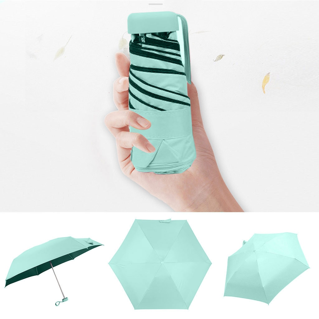 Mini bolso guarda-chuva dobrável sol guarda-chuva feminino viagem plana leve guarda-chuva proteção uv guarda-sol dobrável mini guarda-chuva