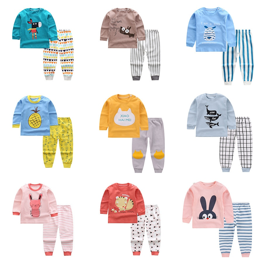 New Kids Boys Girls Pajama Sets Cartoon Print Long Sleeve O-Neck T-Shirt Tops with Pants Toddler Baby Autumn Sleeping Clothing