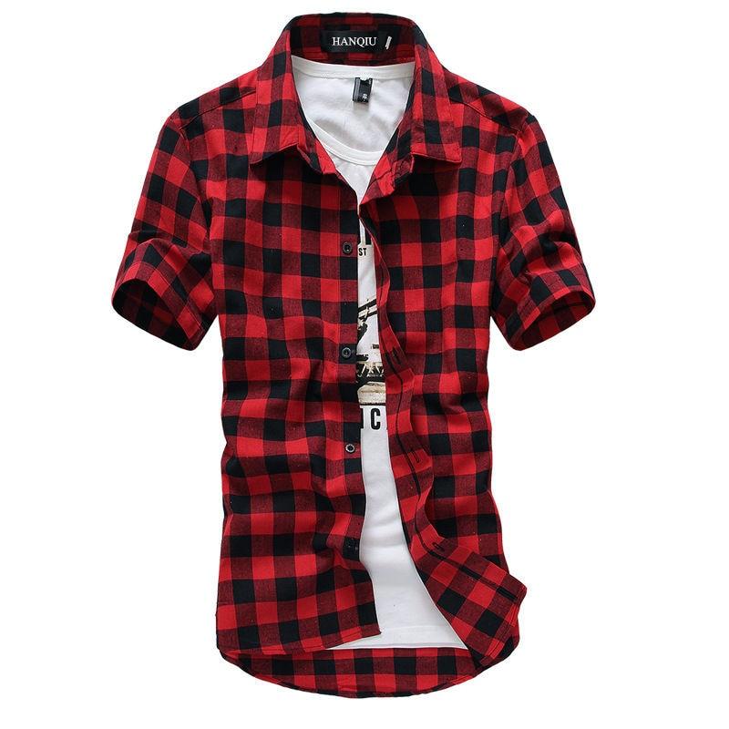 Рубашка мужская в клетку, красно-черная клетчатая блузка с коротким рукавом, модная рубашка в клетку, лето 2021