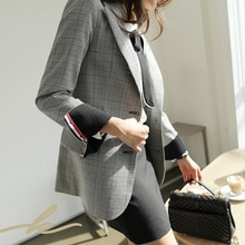 Office Ladies Notched Collar Plaid Women Blazer Two Button Simple Autumn Jacket 2021 Casual Pockets