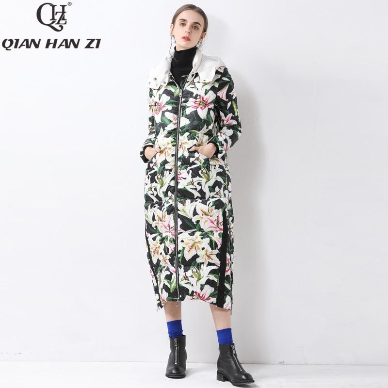 Qian Han Zi-معطف دافئ طويل X ذو علامة تجارية للنساء ، معطف شتوي غير رسمي سميك عالي الجودة ، 2019