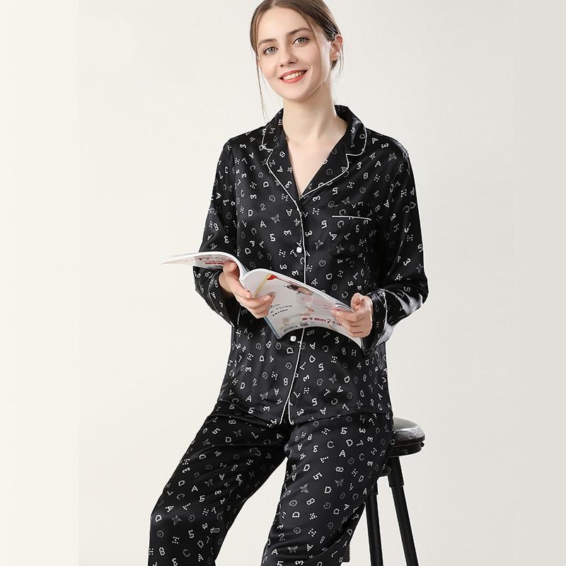 بيجامات حريرية للنساء مطبوعة 100% بدلة رياضية فاخرة خفيفة من الحرير الخالص
