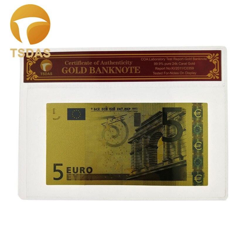 De billete de Euro de oro 5 billetes de Euro dinero falso Bill con marco de plástico para regalo