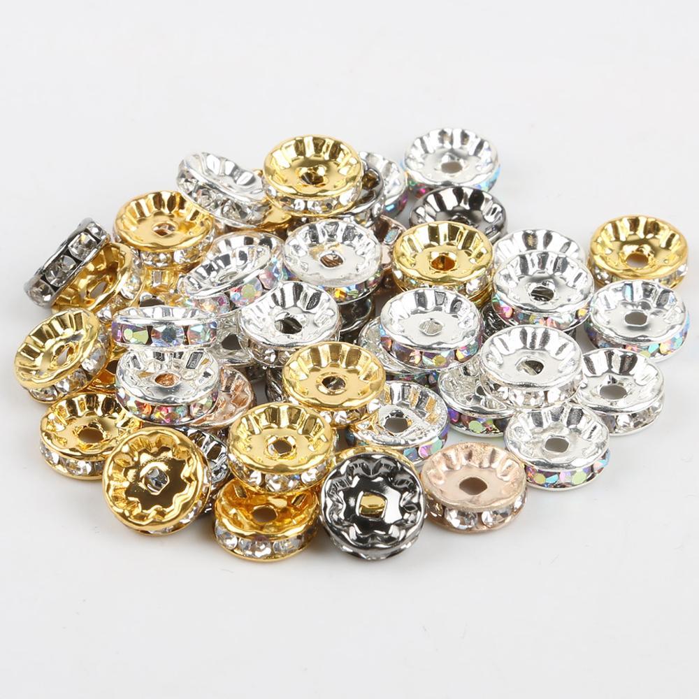 50 stks/partij goud zilver kleur strass rondelles cristal grânulo 4 6 8 10mm losse espaçador vestuário kralen para diy acessórios