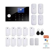 Alarme de securite domestique sans fil  wi-fi  GSM  avec ecran tactile LCD  RFID  controle Amazon Alexa  Google Home  camera IP
