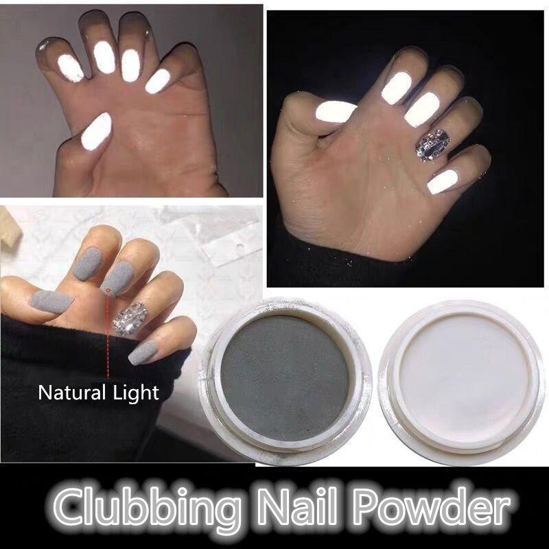 Polvo brillante para uñas, reflectante, para discoteca, brilla en la oscuridad, pigmento fluorescente, polvo para inmersión