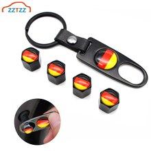 4Pcs Zinc Alloy Germany flag Car Wheel Tire Valve Caps Air Cover+1Pcs Leather Buckle Wrench Auto Car Decoration Accessories
