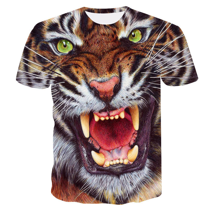 Мужские футболки с 3D принтом животных тигра, футболки с коротким рукавом, забавные Дизайнерские повседневные футболки, мужские футболки на Хэллоуин, азиатские sz 6XL