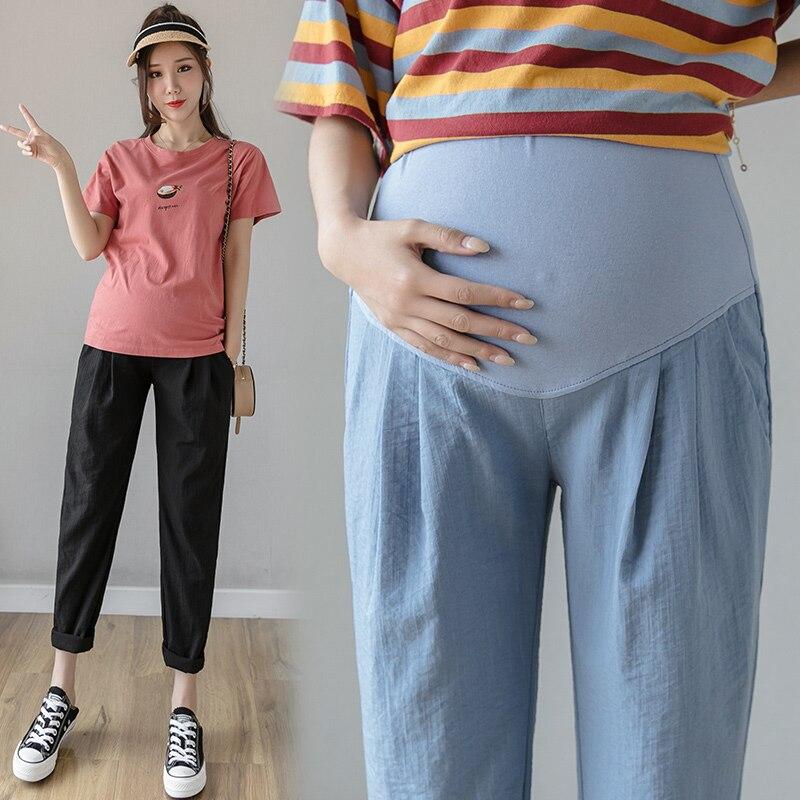 سروال أمومة من القطن والكتان ، ملابس الأمومة ، غير رسمية ، فضفاضة ، مستقيمة ، للنساء الحوامل ، صيف 3128