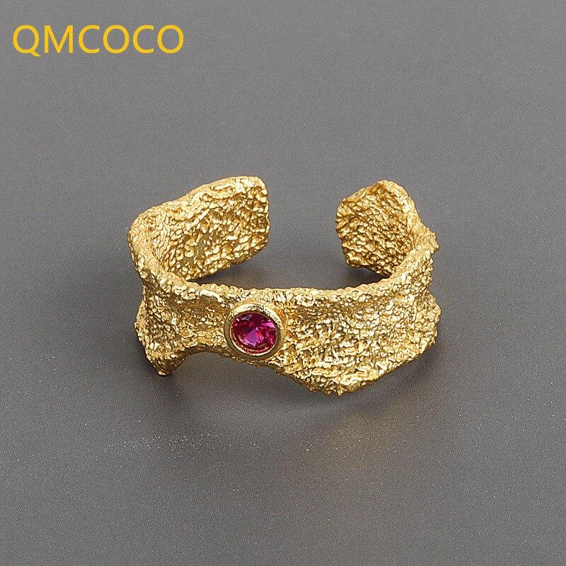 qmcoco-открытое-регулируемое-кольцо-для-женщин-925-серебро-волна-матовый-красный-циркон-тренд-милый-сексуальный-элегантный-ручной-работы-хип-х