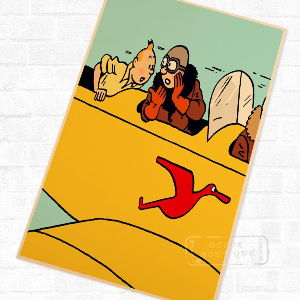 Uçakta TinTin karikatür komik Vintage Retro Kraft kaplı posteri dekoratif DIY duvar tuvali Sticker ev Bar sanat posterleri dekor