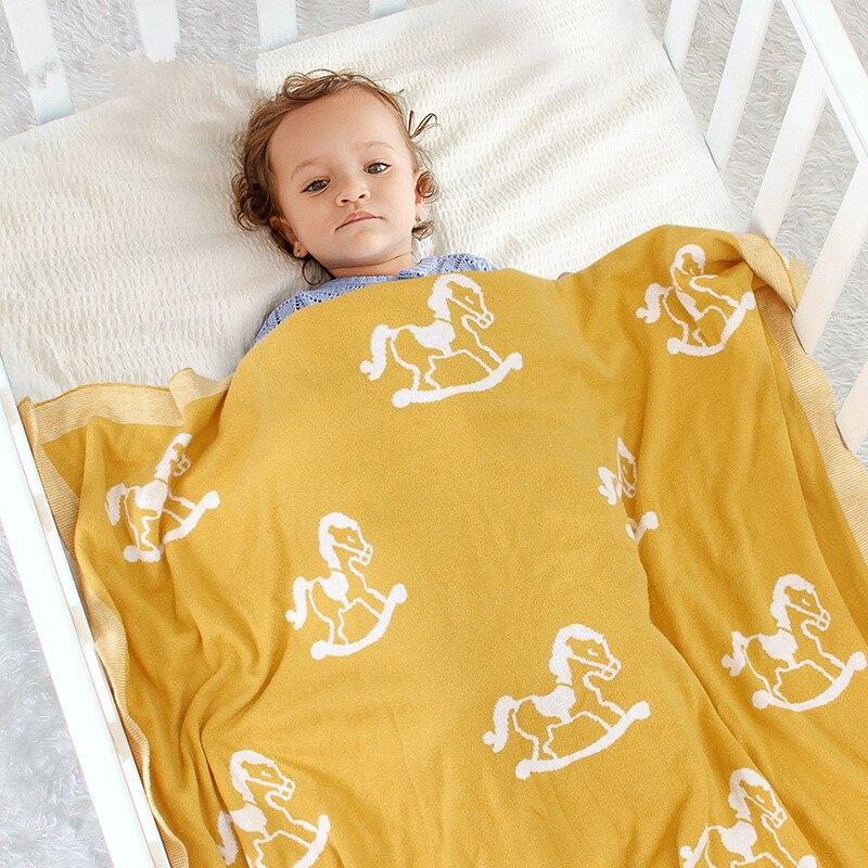 Вязаное Пеленальное Одеяло для новорожденных, пеленка для коляски, постельное белье для детской кроватки, милый аксессуар для коляски