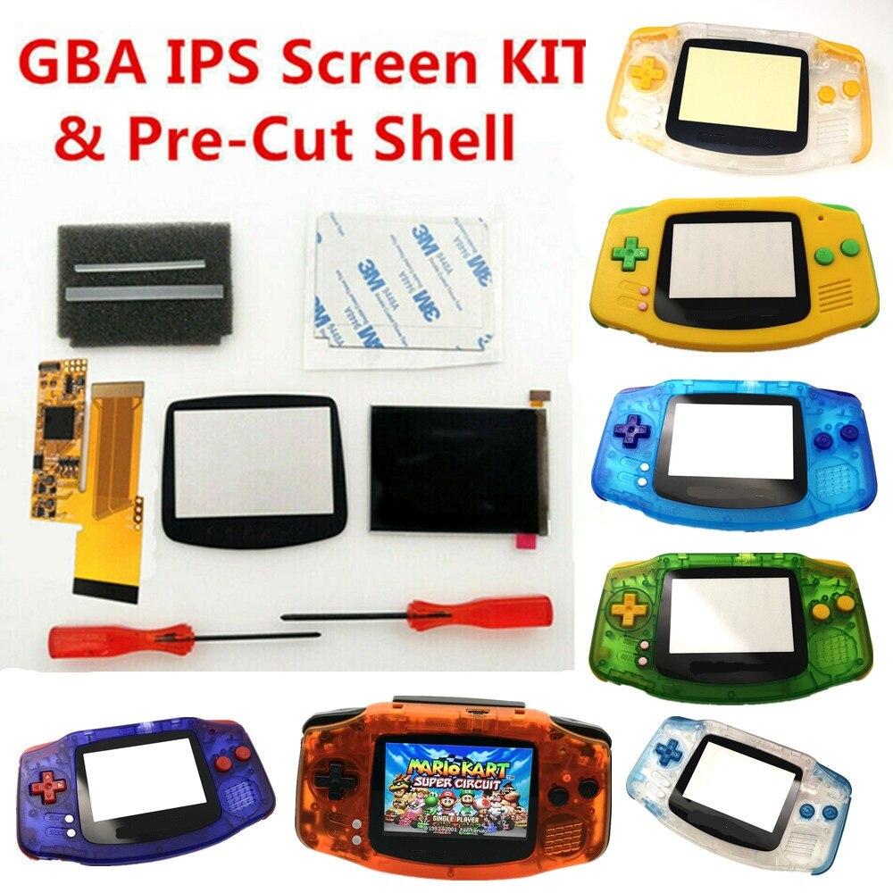 V2 IPS الخلفية LCD أطقم 10 مستويات السطوع LCD ل Gameboy مقدما وحدة التحكم ل GBA و الملونة قبل قطع قذيفة