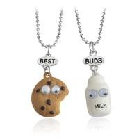2pcsset best friends best buds miniature cookies biscuit milk pendant necklaces friendship jewelry gift birthday