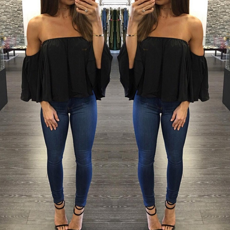 Fashion open-shouldered Top Long Sleeve Sweater for women Casual Blouse Hals Langarm Chiffon Schulter chiffon blouse -CH32  - buy with discount