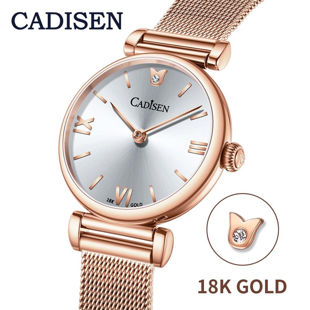 2020 CADISEN 18K GOLD Woman Watch Luxury Brand Mesh Belt Wristwatch Japan movement Gold Quartz Watch factory dropshipping Outlet enlarge