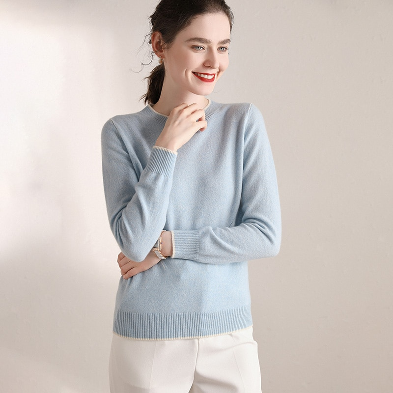 LONGMING 100% Cashmere Sweater Women O-neck Long Sleeves Autumn Winter Sweater Women's Knitting Jumper Female hedging Sweater enlarge