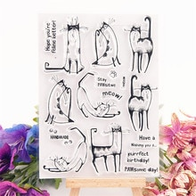 11x15cm barbe de chat Transparent clair timbres Silicone joints rouleau timbre bricolage scrapbooking album photo/carterie mariage