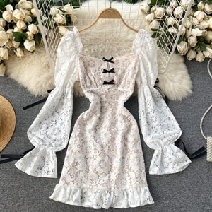 Aristocratic temperament of French dress lace  sexy hubble-bubble sleeve pockets hip fishtail , white dress