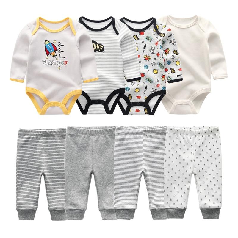 2021 Cotton 6/8PCS Newborn Baby Boy Clothes 0-12M Autumn Bodysuits+Pants Boys Baby Clothing Sets Full Sleeve Baby Girl Clothes