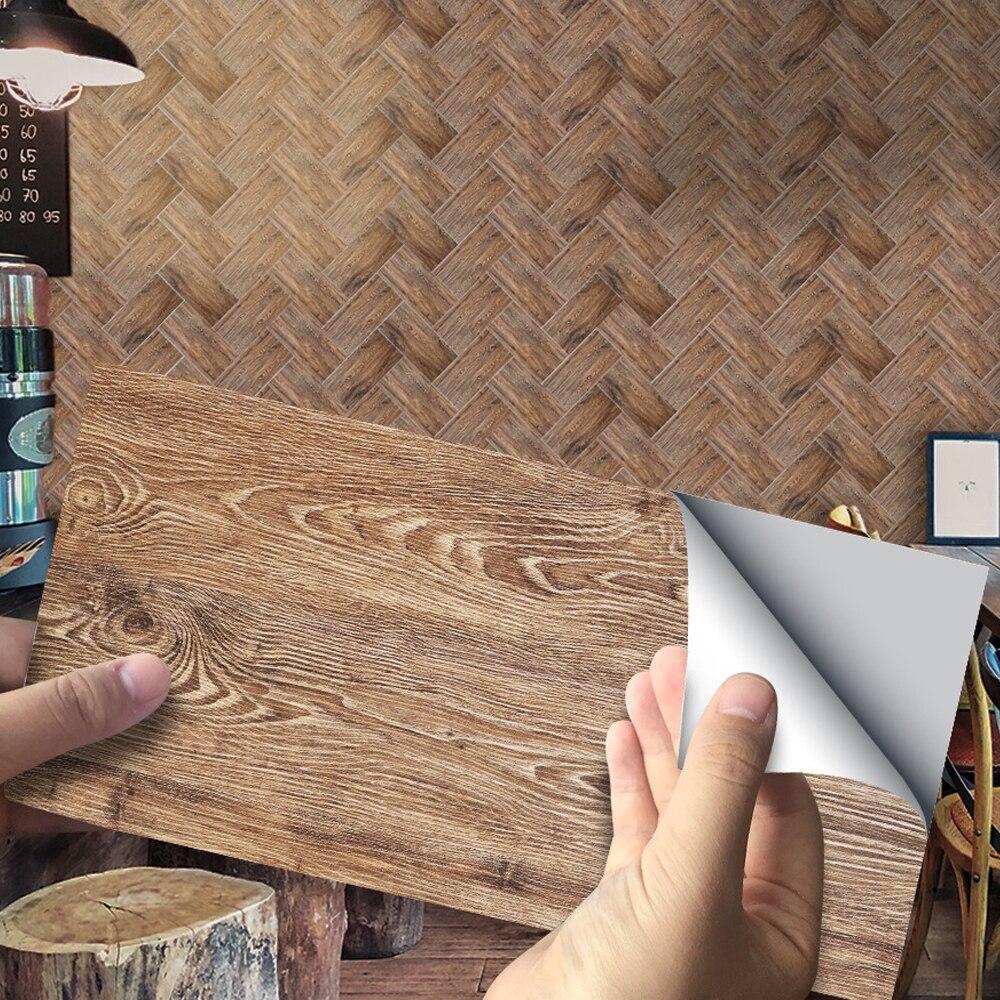 9/27 Uds pegatina de pared clásica PVC marrón oscuro pegatinas de madera decoración de baño autoadhesivo impermeable calcomanías de pared para el hogar