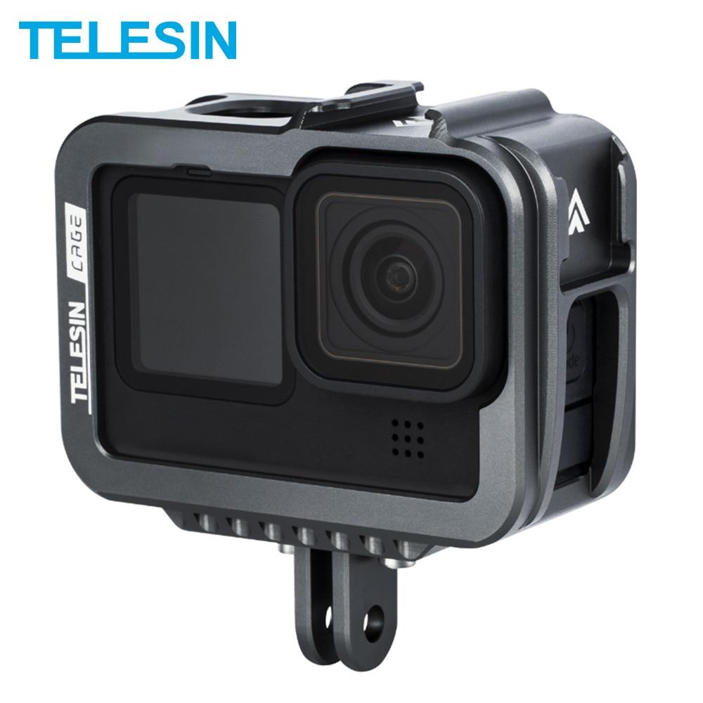 TELESIN-جراب بإطار من سبائك الألومنيوم لـ GoPro 9 ، غطاء مزدوج مع منفذ شحن ، ملحقات كاميرا سوداء