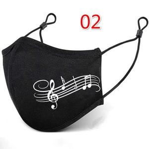 Unisex Reusable Face Mask Music Note Print Cloth Face Mask With Halloween Cosplay Mask Filter Adjustable Mascarilla Mondmasker
