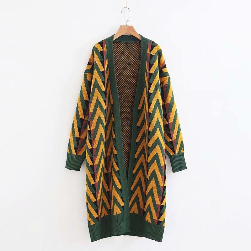 Женский длинный свитер, кардиганы, сезон осень-зима 2020, длинный свитер, куртка, вязаные кардиганы с геометрическим рисунком, длинное пальто, ...