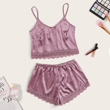 Women Sexy Lace Pajamas Sets Summer Stripe Solid Color Camisole and Shorts Home Clothes Suit