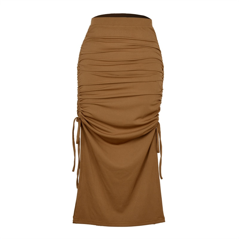 lace up back halter top with split skirt Split knit slim skirt women fashion pleated lace up sexy Hip Wrap Skirt female Split knit slim skirt 3020 31