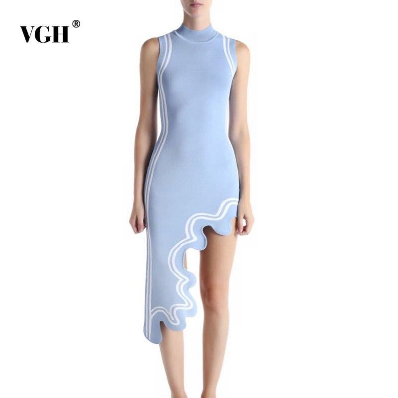 Vgh vestido de verão para as mulheres o pescoço sem mangas cintura alta assimétrica hem listrado hit cor vestidos casuais feminino 2020 novo estilo