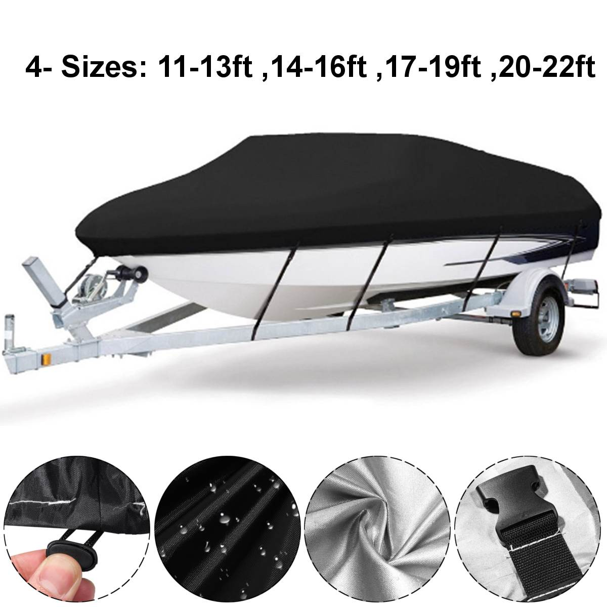 11-13ft 14-16ft 17-19ft 20-22ft Boat Cover Anti-UV Waterproof Heavy Duty 210D Marine Trailerable Canvas Boat Accessories enlarge