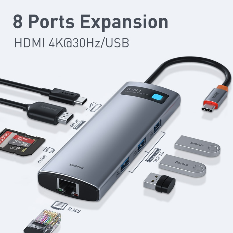 Baseus USB C HUB Type C to HDMI-compatible USB 3.0 Adapter 8 in 1 Type C HUB Dock for MacBook Pro Air USB C Splitter