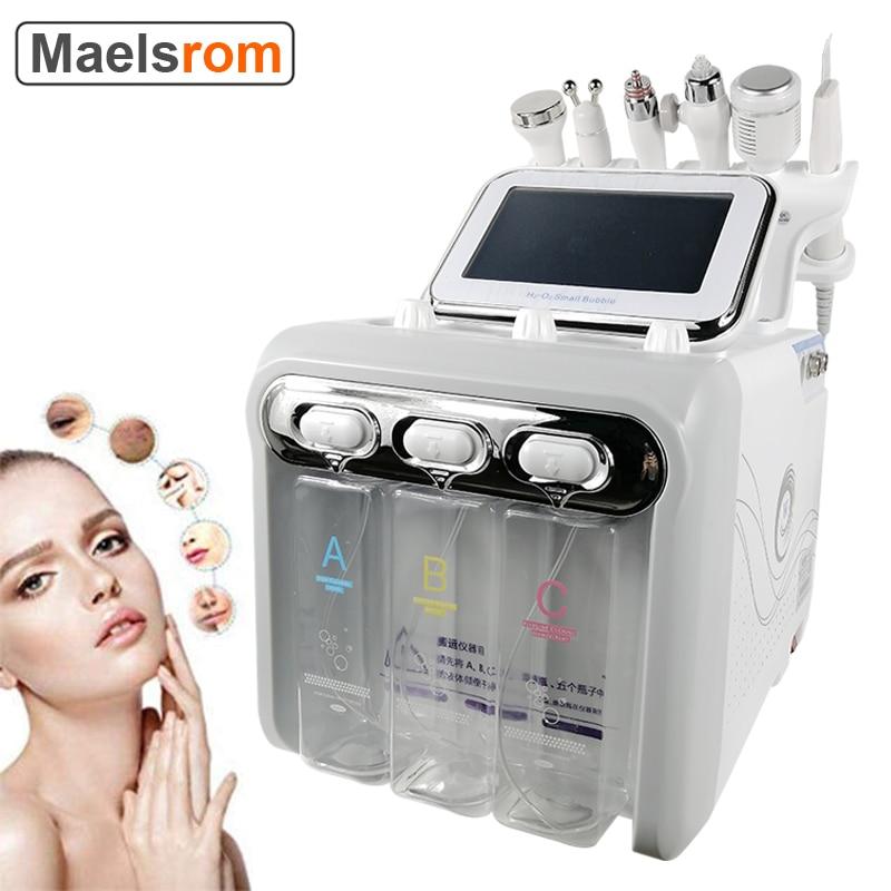 آلة تقشير الوجه بالأكسجين الهيدروجين 6 في 1 ، تنظيف الوجه بالتفريغ ، جهاز تقشير المياه النفاث ، بخاخ جلدي