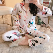 Cartoon Print Lapel Pajama Sets For Women Smooth Silk Summer Spring  Casual Comfortable Pyjamas Sleepwear 2 Pcs Home Suit