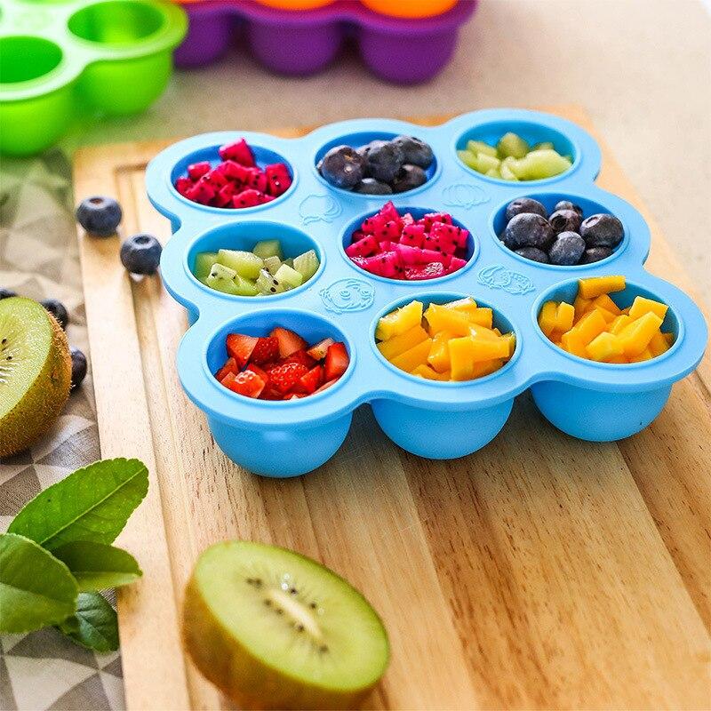 Multifunción seguridad de calidad alimentaria de silicona de 9 agujeros caja de alimentos para bebés con tapa bandeja de hielo caja de almacenamiento de frutas bandeja para el congelador taza molde para pastel