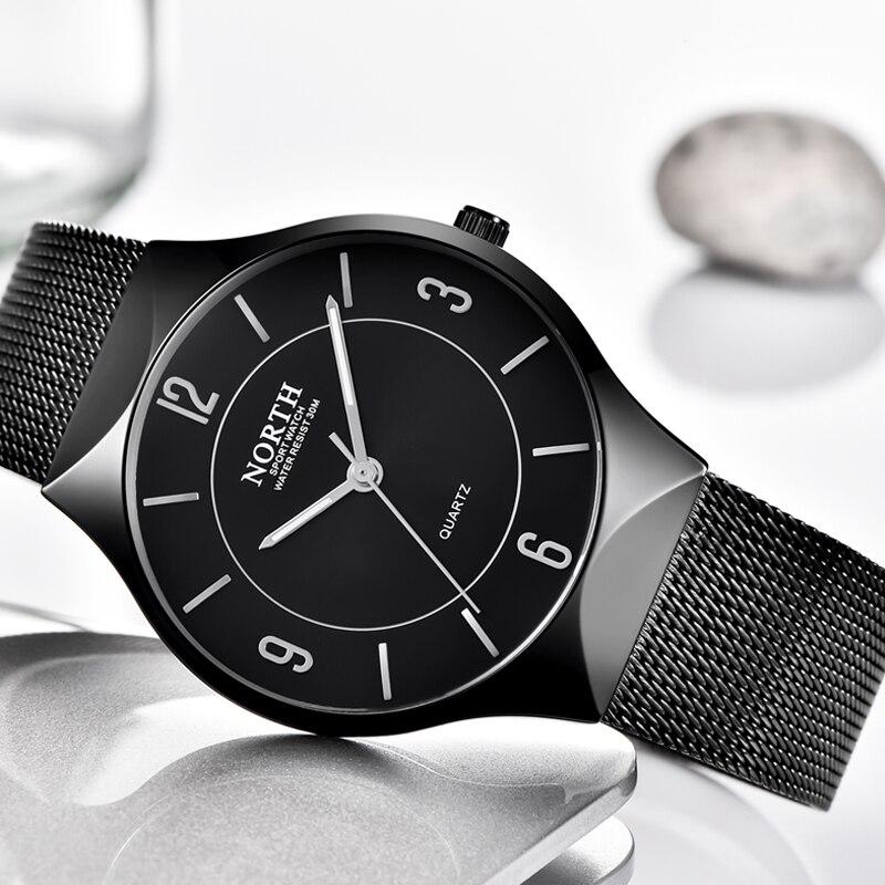 Norte marca de luxo relógio masculino moda casual qaurtz relógios aço malha simples businesswaterproof relógio de pulso masculino