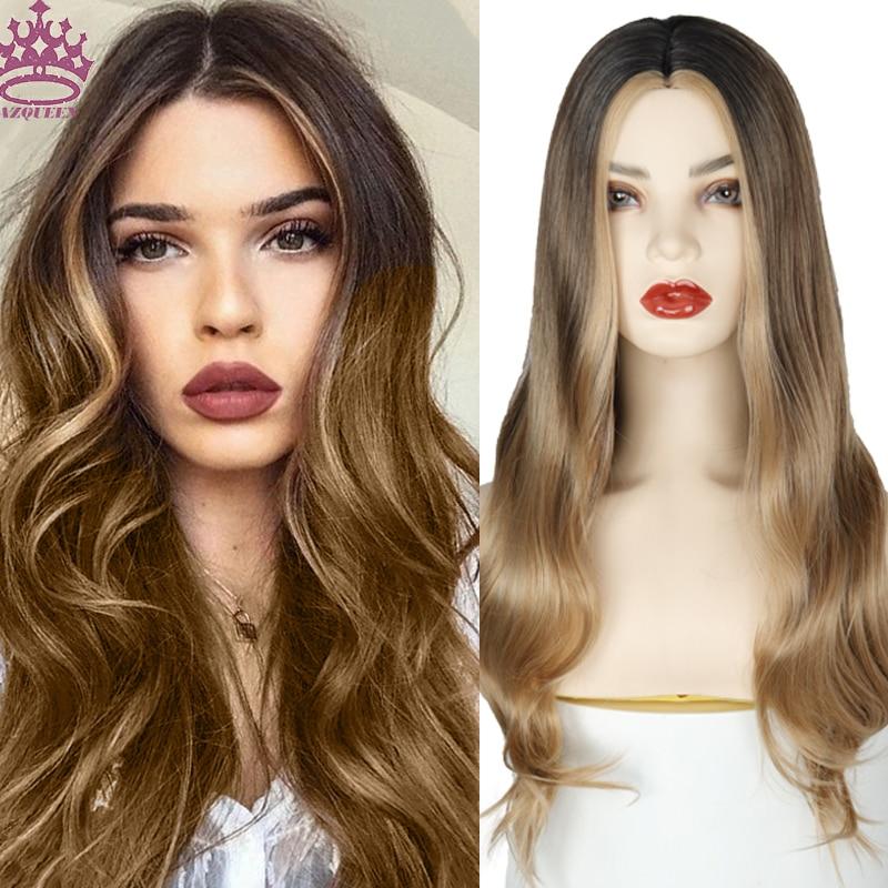 Peluca AZQUEEN largo ondulado para mujer, pelucas de pelo Natural con parte lateral, pelucas sintéticas Ombre de platino/Rubio/pelucas negras resistentes al calor para mujer