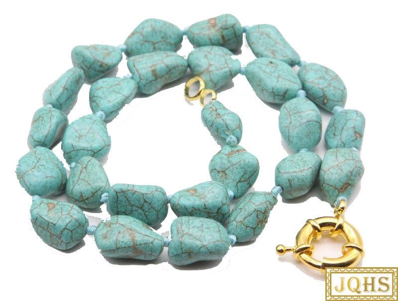 """Barroco natural 18 """"17mm collar de turquesa anudado azul cierre bañado en Oro c38"""
