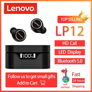 Lenovo LP12 TWS Bluetooth 5.0 Earphones Charging Box Wireless With Microphone Touch Control HiFi Headset