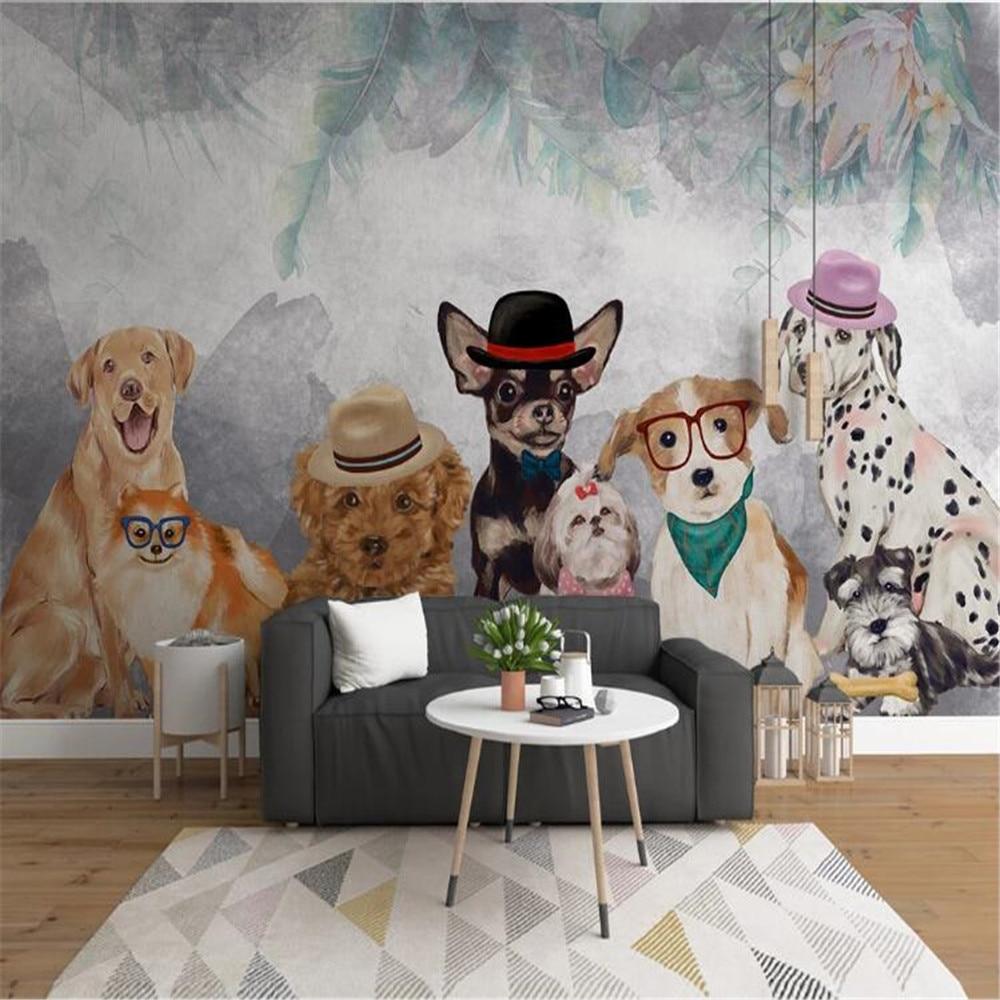 Milofi индивидуальные 3D печать обои росписи простой мультфильм ручная роспись ПЭТ щенок личность детская комната фон стены