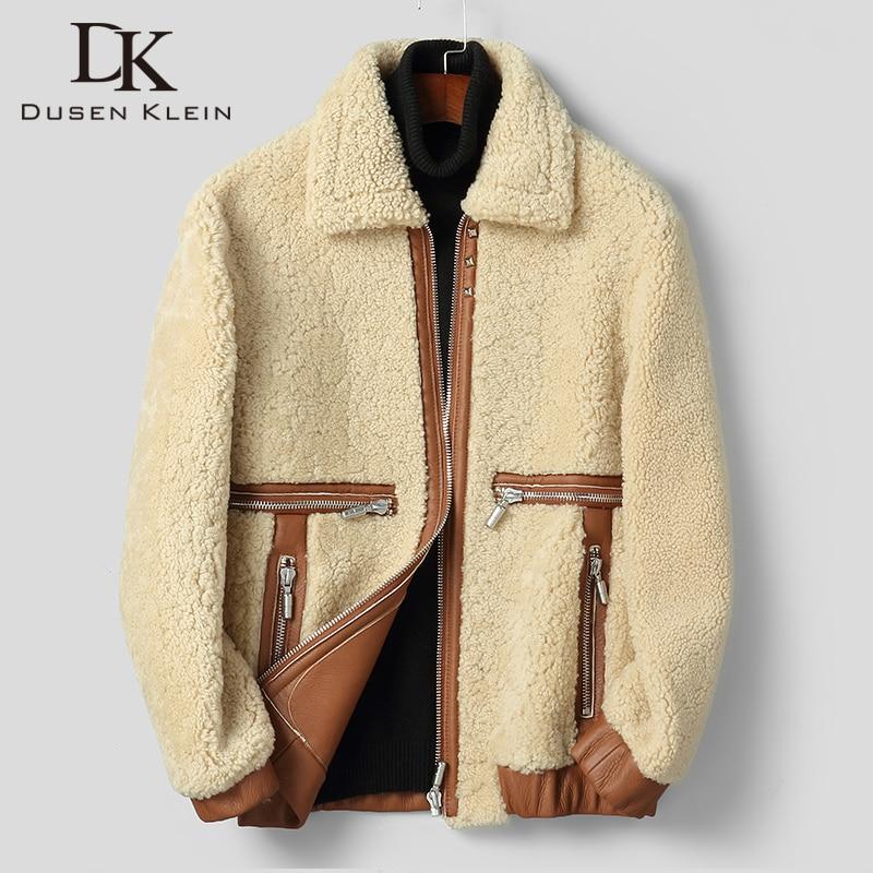 الرجال Shearling جلد الغنم السترات مع الصوف الفراء سميكة الدافئة معطف الشتاء 2020 B-206