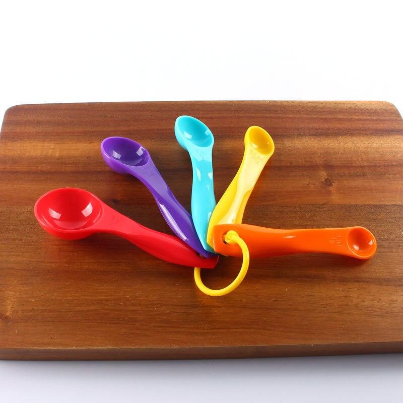 Juego de papel de 5 colores cuchara de cantidad de plástico cuchara dosificadora cuchara de leche en polvo cuchara para condimentar herramienta de horneado