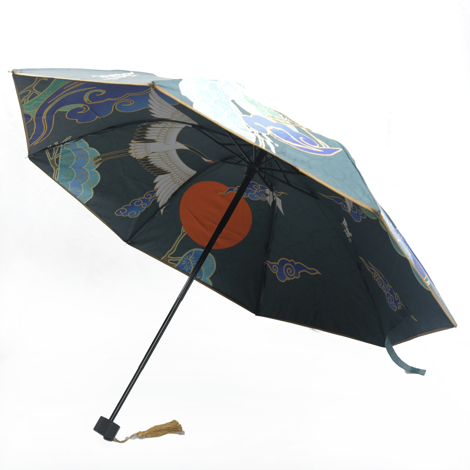 Guarda-chuva dobrável triplo estilo chinês de dupla camada de vinil guarda-chuva all-weather anime