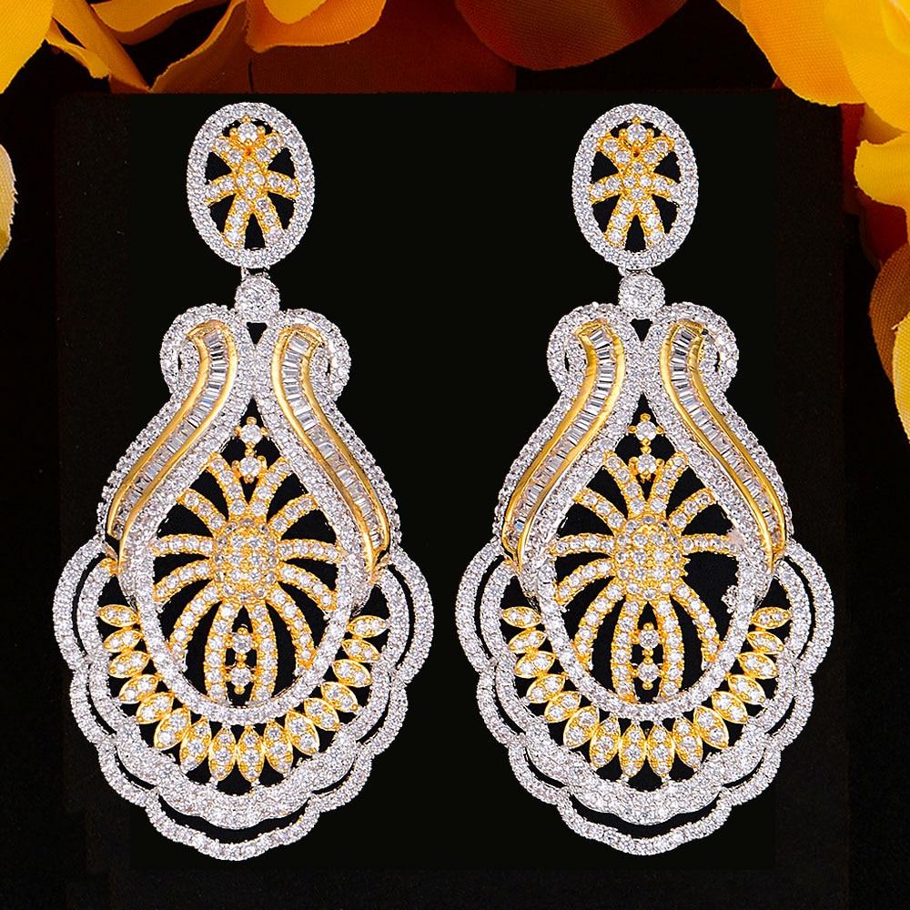 GODKI-أقراط نسائية فاخرة على شكل جرس ، مجوهرات الزفاف ، مكعب زركونيا ، دبي ، إكسسوارات المجوهرات ، 2020