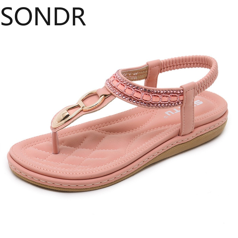 2021 Women fashion sandals beach seaside metal rhinestone flat shoes plus size women's shoes 35-42