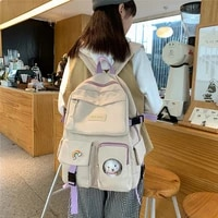 baowomen women backpacks nylon letter print portable zipper female backpack large capacity travel shoulder bag lady backpack