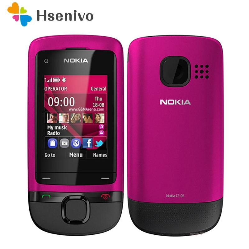 Nokia C2-05 отремонтированы Оригинальный разблокирована Nokia C2-05 слайдовый сотовый телефон Bluetooth FM Радион телефона Бесплатная доставка